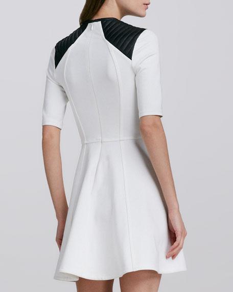 Ponte Dress with Leather Trim