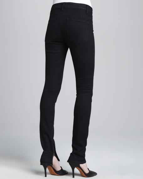 Textured-Knee Skinny Jeans