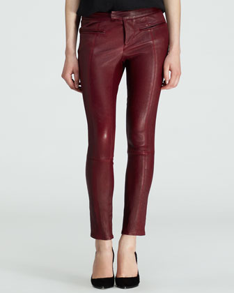 Cropped Leather Stovepipe Pants