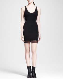 HELMUT Helmut Lang Cadet Mesh-Trim Ponte Dress