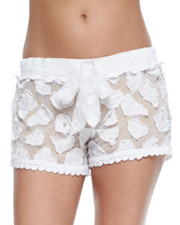 Crochet Coverup Shorts, White