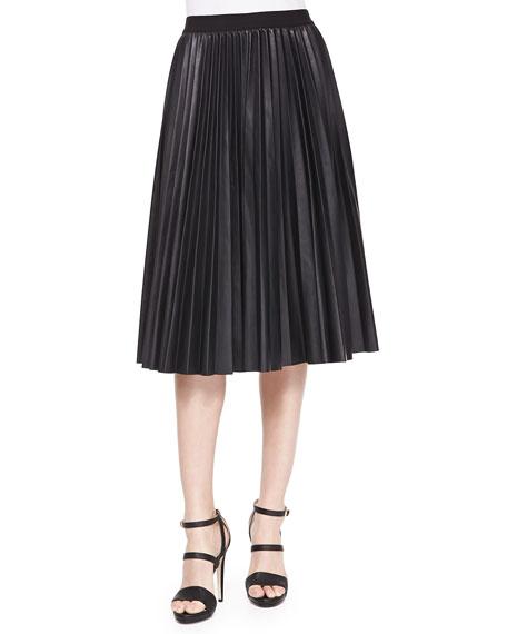 Zeyn Pleated Leather Skirt