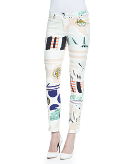 Mixed-Print Skinny Pants