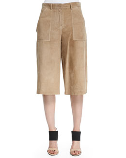 Gera Wide-Leg Cropped Suede Pants