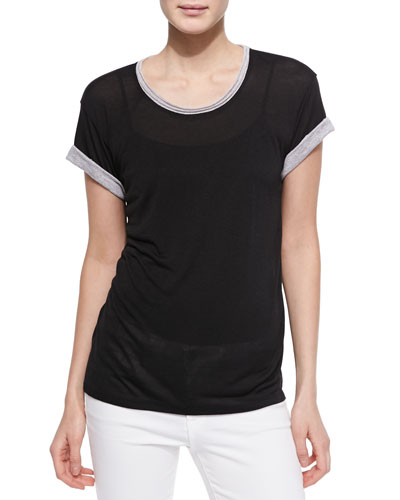 Contrast-Trim Slub Tee, Black/Gray