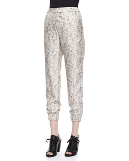 Alfred Printed Cropped Silk Pants