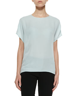 Mixed-Media Charmeuse Tee
