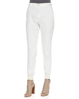 Button-Front Linen Jogger Pants