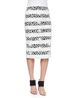 Della Striped Netted Pencil Skirt