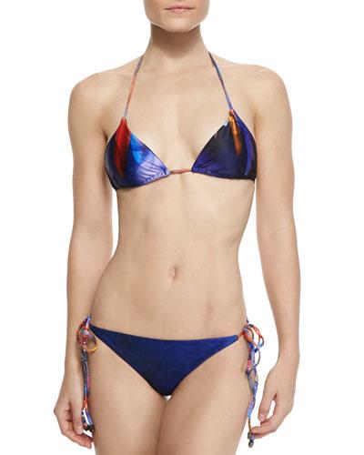 Shaman Feather-Print String Bikini
