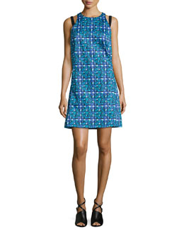 Knit Hydra-Print Apron Dress, Topaz