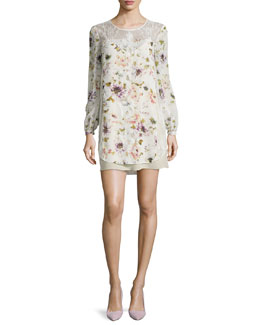 Lace/Floral-Print Silk Dress