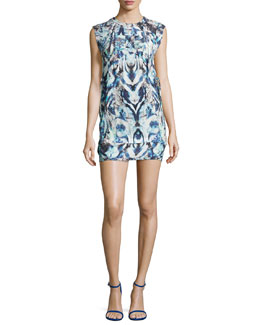 Deinia Ribbed Abstract-Print Dress