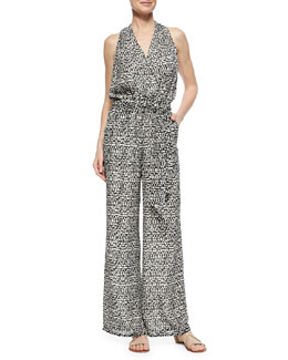 Tribal-Print Wide-Leg Jumpsuit