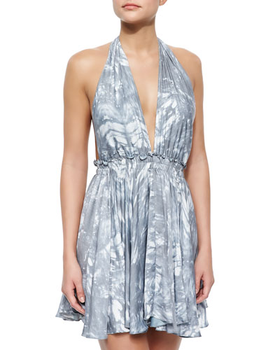 Feather-Dyed Deep Halter Dress