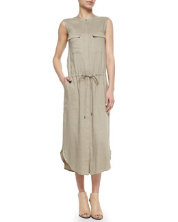 Sleeveless Drawstring-Waist Cargo Dress