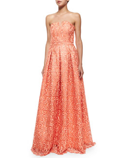 Kamila Strapless Embroidered Scroll Gown