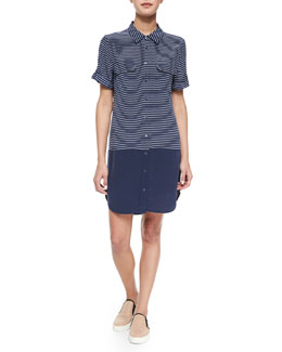 Short-Sleeve Slim Signature Silk Shirtdress, Navy/Bright White