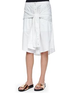 Tie-Sleeve Poplin Skirt