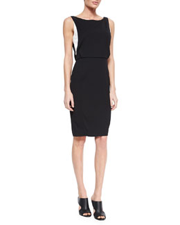 Slim Crepe Dress with Contrast Lining