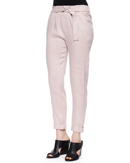 Belted Straight-Leg Linen Pants