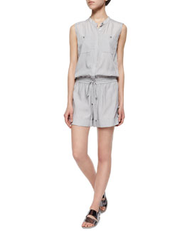 Sleeveless Button-Front Romper