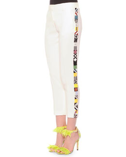 Slim Suit Pants with Embroidered Sides