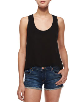 Darin Leather-Trim Babydoll Tank, Black