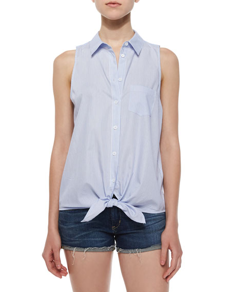 Equipment Mina Sleeveless Tie-Front Blouse, Periwinkle Blue