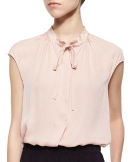 Silk Cap-Sleeve Tie-Neck Blouse
