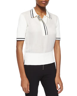 Dana Striped-Trim Polo