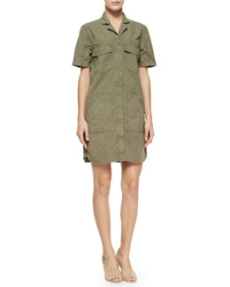 Kona Short-Sleeve Utility Shirtdress, Olive Drab