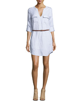 Rathana Belted Linen Dress