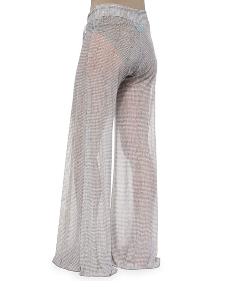 Coconut Husk Wide-Leg Coverup Pants