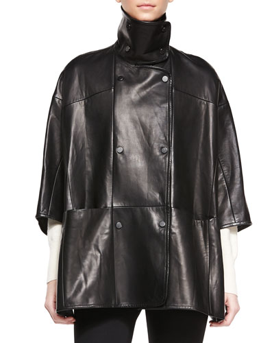 Double-Breasted Leather Cape