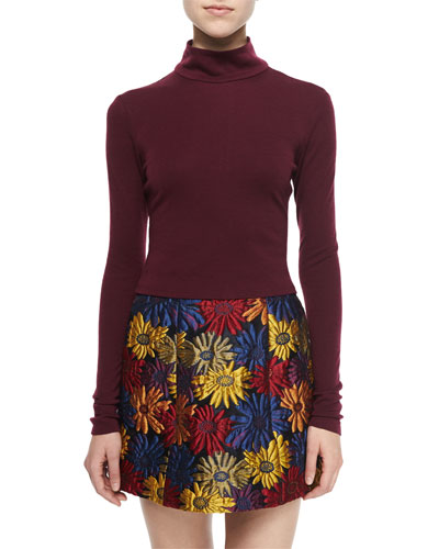 Garrison Cropped Mock-Neck Top, Maroon