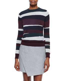 Mosaic-Striped Merino Pullover