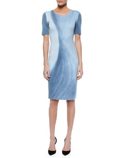 Gwenyth Short-Sleeve Marble-Print Sheath Dress