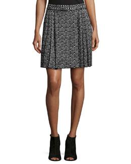 Geometric Jacquard Pleated Skirt