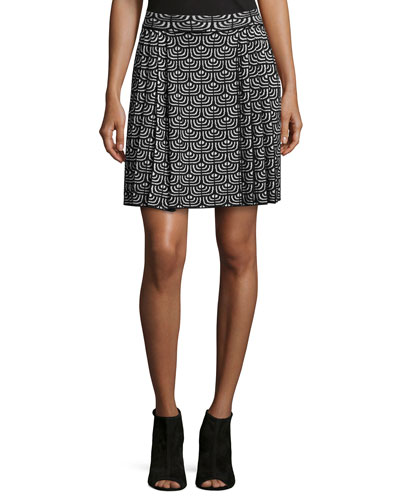 Geometric Jacquard Pleated Skirt