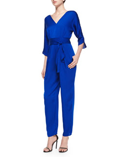 3/4-Sleeve Silk Crepe Jumpsuit
