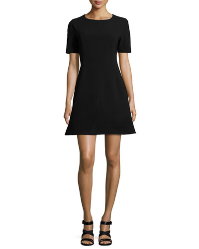 Polycrepe A-Line Dress, Black