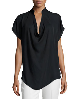 Colman Silk Cowl-Neck Blouse