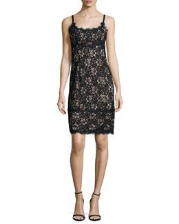 Olivia Sleeveless Lace Sheath Dress, Black/Nude
