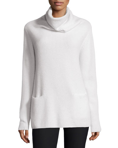 Oversize Ribbed Knit Turtleneck Sweater