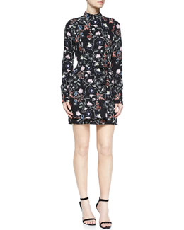 Charles Flower-Print Silk Dress, Black