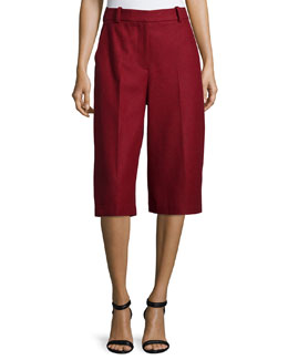 Topstitched Wool-Blend Culottes, Ruby