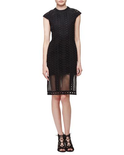 Cap-Sleeve Tread-Lace Sheath Dress, Black