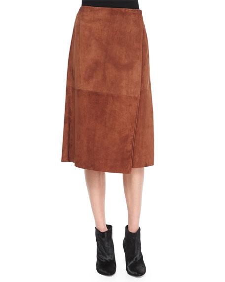Gantrima Suede Wrap Skirt, Deep Sandalwood