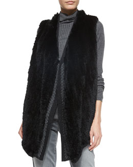 Sleeveless Fur Vest w/Sweater Back